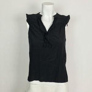 Theory Top Tunic Button down black sleeveless SzXS